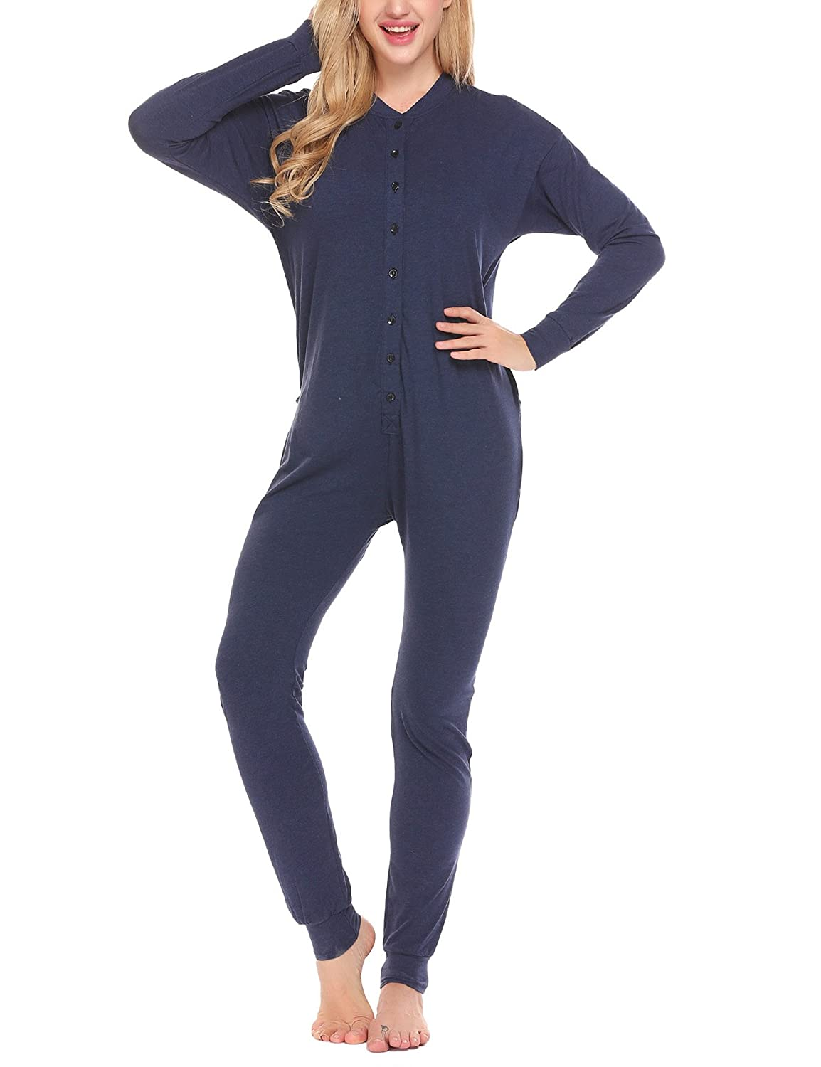 Ekouaer Bandage One Piece Pajama Romper Long Sleeve Jumpsuit Sleepwear for Women EKK007182#