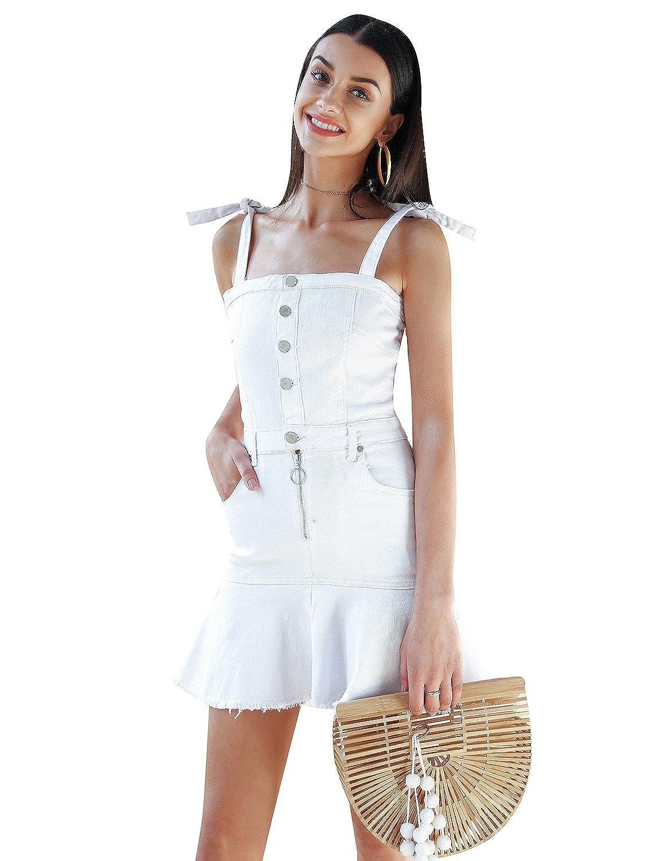 Missy Chilli Women\'s Denim Strap Sleeveless Front Botton Zipper ...