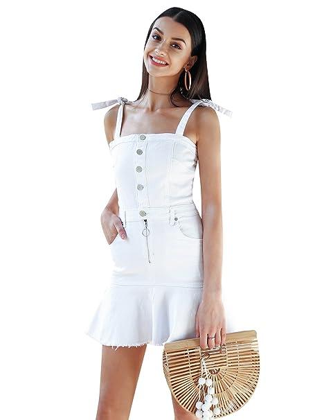 b4902a0d90 Simplee Women Summer Denim Button Up Strap Mini A Line Mermaid Dress White