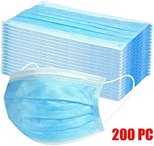 50/100/200Pcs Disposable Face Safety, 3 Ply Non-Woven, Face Bandanas, Breathable and Anti-Haze Dust, for Adult (Blue,200PCS)