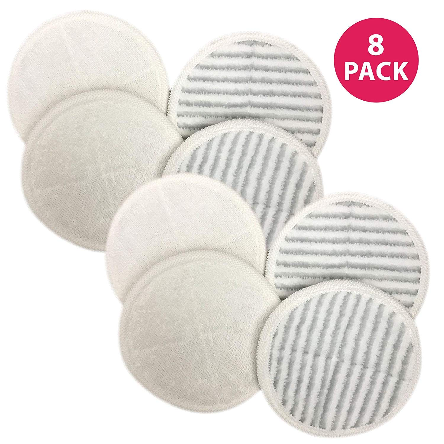 Think Crucial Replacement Mop Pads Compatible with Bissell Spinwave Mop Pad Heads Parts - Perfect for Models 13122, 13129, 13151, 13139 - Home and Office Use - Pair with Part 2124 - Bulk (8 Pack)