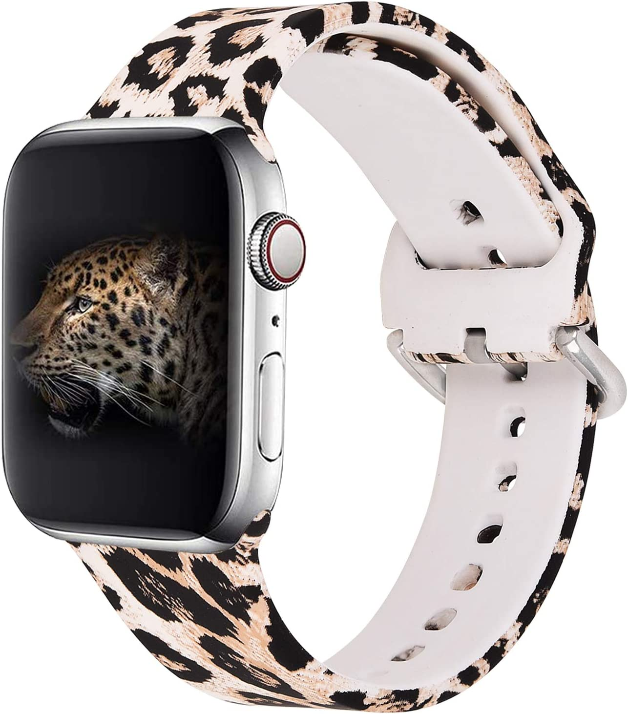 KOREDA Compatible with Apple Watch Band 40mm 38mm, Fadeless Pattern Printed Floral Bands Silicone Replacement Band for iWatch SE & Series 6 & Series 5/4/3/2/1 for Women Men (Leopard)