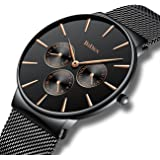 Mens Simple Designer Watches Men Waterproof Date Calendar Stainless Steel Mesh Analogue Quartz Watch Men's Business Casual Luxury Dress Black Wrist Watches with Black Dial