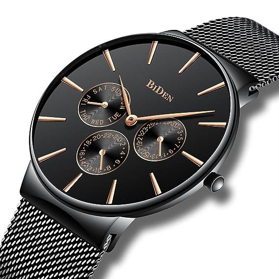 Relojes de Diseñador Simple Para Hombres Reloj Lujo Fecha Calendario Hombre  con Correa de Malla Banda de Acero Inoxidable 30M Impermeable Clásico  Relojes de ... d0eb228a5871