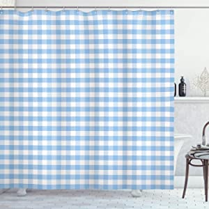 Ambesonne Checkered Shower Curtain, Little Squares and Stripes Pastel Color Gingham Repeating Rows Vintage Tile, Cloth Fabric Bathroom Decor Set with Hooks, 70