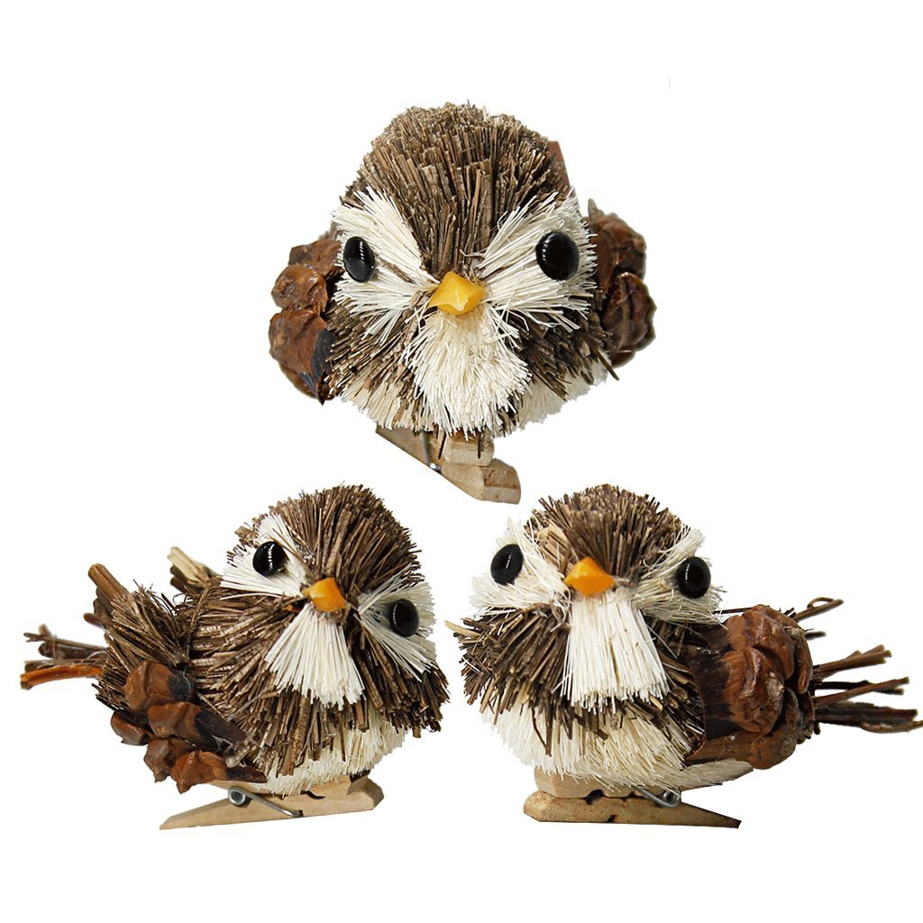 YuQi Handmade Sparrow with Clip Sets of 3 Artificial Decorations Birds for Arts Ornaments and Crafts,Home Décor Accents Animals (Brown)
