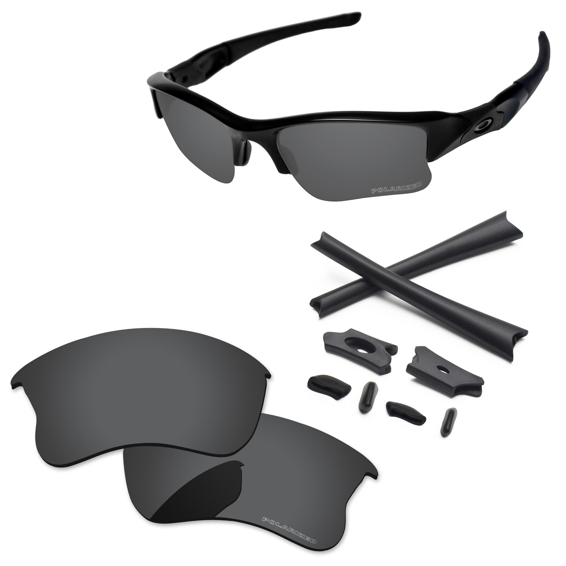 PapaViva Replacement Lenses & Rubber Kits for Oakley Flak Jacket XLJ Black Grey - Polarized by PapaViva