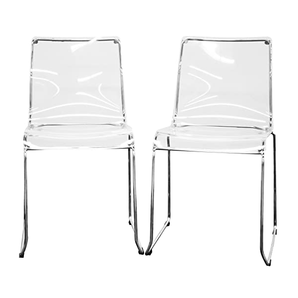 Baxton Studio Lino Transparent Clear Acrylic Dining Chair, Set of 2, Clear
