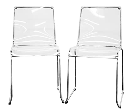 Genial Lino Transparent Clear Acrylic Dining Chair, Set Of 2, Clear