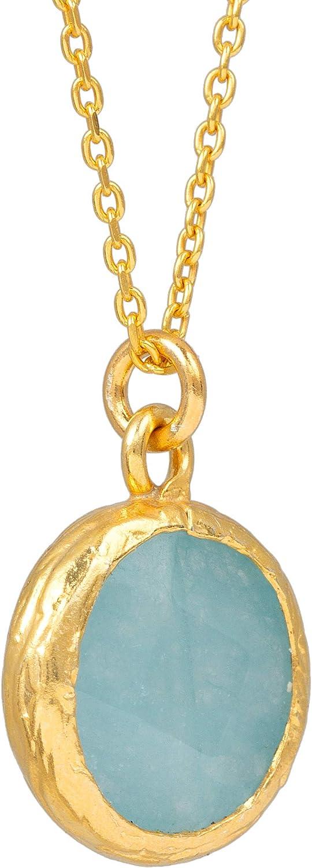 Sarah Bosman SAB-N02AQUJADg - Collar para Mujer con Placa de Oro Aqua Jade – Cadena Redonda con Piedras Preciosas turquesas engarzadas de Plata chapada en Oro – 14 mm de diámetro