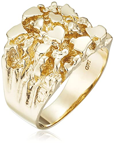 Men s 14k Yellow Gold Nug Diamond Cut Ring Size 10 Amazon