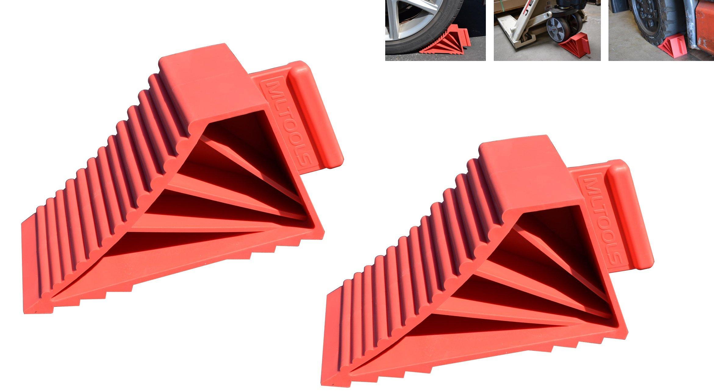 MLTOOLS Wheel Chocks | 2 pack High Grip Wheel Chocks | Made in USA WC283
