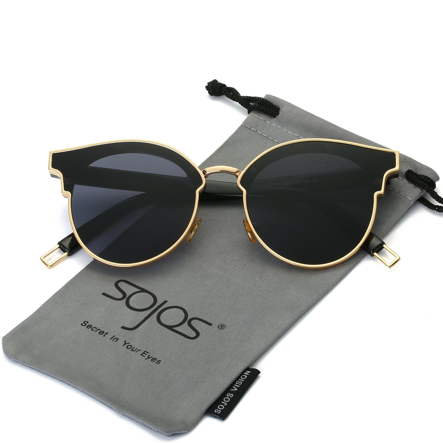 SOJOS Fashion Cateye Sunglasses for Women Oversized Flat Mirrored Lens SJ1055 with Thick Gold Frame/Grey Lens