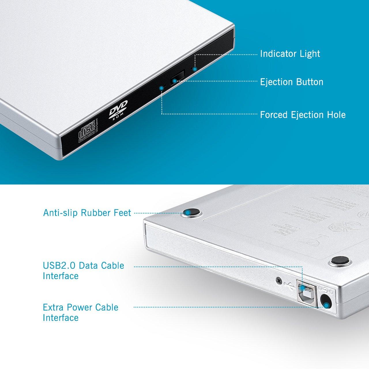 VicTsing [Latest Versión] Grabadora Unidad Externa USB 2.0 DVD-R & CD-RW Compatible con Windows 2000/XP/Vista/Windows7, Todas Las Versiones de Apple Mac OS ...