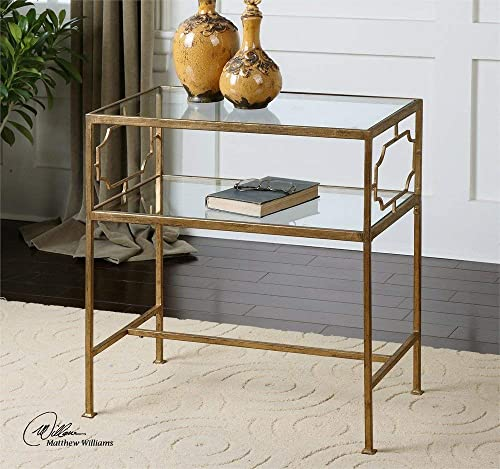 Luxe Contemporary Gold Iron Side Table with Glass Top