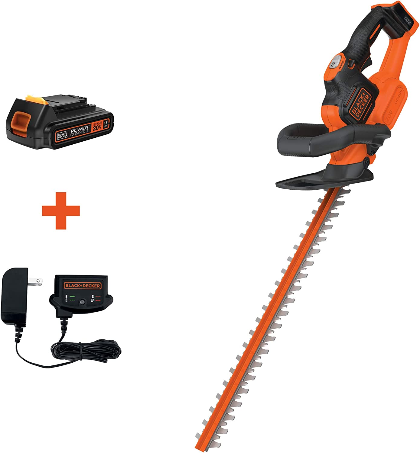 BLACK DECKER 20V MAX Cordless Hedge Trimmer with POWERCOMMAND Powercut, 22-Inch LHT321FF