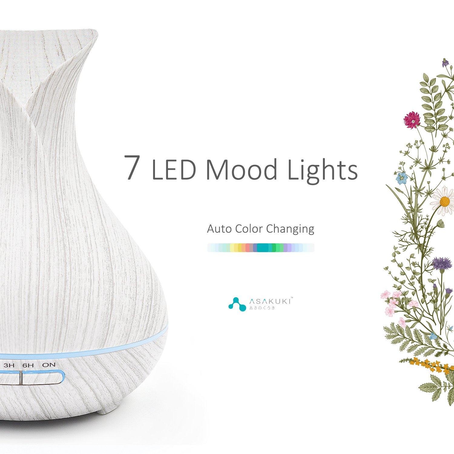 ASAKUKI 400ML Premium, Essential Oil Diffuser, Quiet 5-in-1 Humidifier, Natural Home Fragrance Diffuser with 7 LED Color Changing Light and Easy to Clean by ASAKUKI (Image #2)
