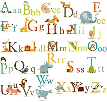 Classic Animals Alphabet Baby Nursery Peel U0026 Stick Wall Art Sticker Decals