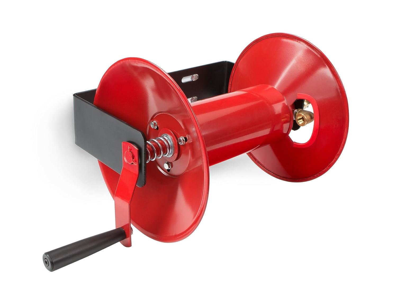 TEKTON 4687 Manueller Druckluftschlauch-Aufroller, Schlauchtrommel-Wandhalter, bis zu 30 m Schlauch-Lä nge