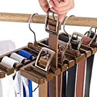 10 Slot Tie Belt Scarf Rack Organizer Sturdy Plastic Closet Wardrobe Space Saver Belt Hanger with Metal Hook