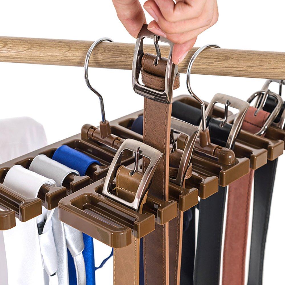 10 Slot Krawatte Gü rtel Schal Rack Organizer Stabiler Kunststoff Closet Space Saver Gü rtel Garderobenbü gel mit Metall Haken, beige, 10 Slot SGKN