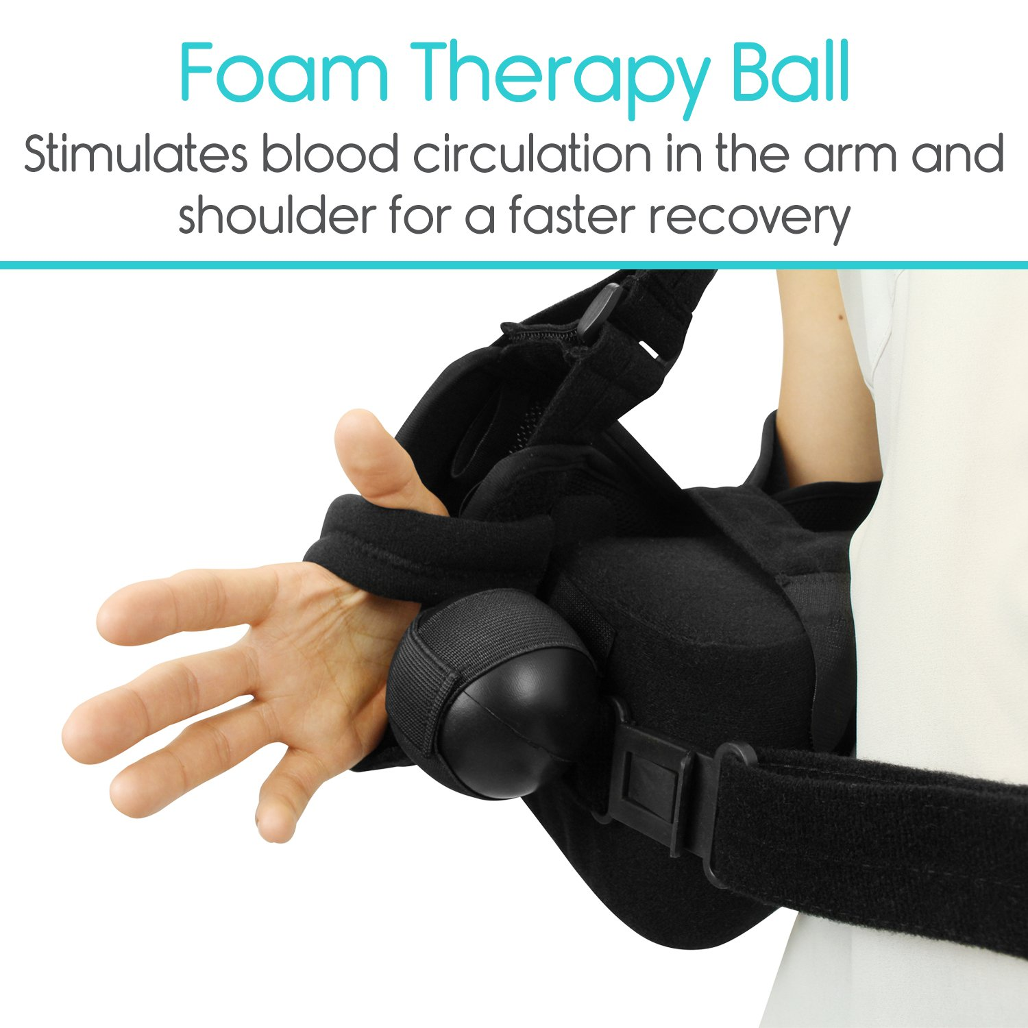 Vive Shoulder Sling - Abduction Immobilizer for Injury Support - Pain Relief Arm Pillow for Rotator Cuff, Sublexion, Surgery, Dislocated, Broken Arm - Brace Includes Pocket Strap, Stress Ball, Wedge by VIVE (Image #3)