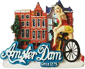 3D Amsterdam Netherlands Fridge Magnet Souvenir Gift Home & Kitchen Decor Magnetic Sticker, Amsterdam Holland Refrigerator Magnet