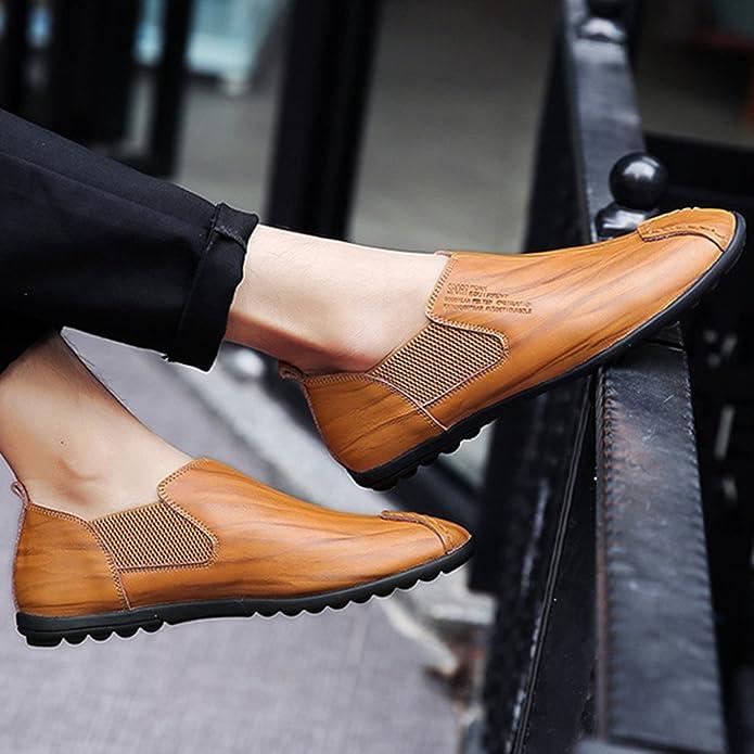 gracosy Mocassins pour Homme, Chaussure Bateau en Cuir à Enfiler Design Original Loafers Chaussures de Ville Urban Fait à la Main Noir Marron