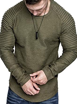 Jofemuho Men Crew Neck Long Sleeve Digital Print Relaxed Fit Regular Fit Sweatshirt Athleisure Sports Apparel