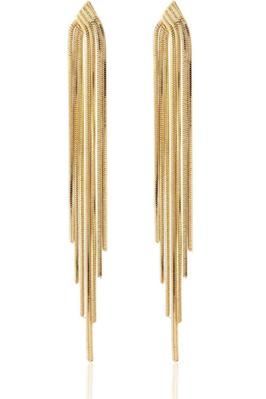 Long Drop Sleek Chain Tassel Earrings by Lovey Lovey (Gold)