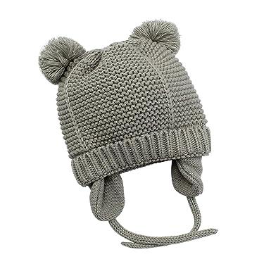 ef298e291df Bestjybt Baby Hat Cute Bear Toddler Earflap Fleece Lined Beanie Warm for  Fall Winter (Grey