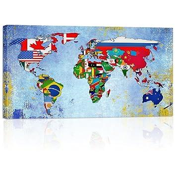 Amazon visual art decor retro flags world map wall art canvas visual art decor retro flags world map wall art canvas prints home decor framed large vintage freerunsca Image collections