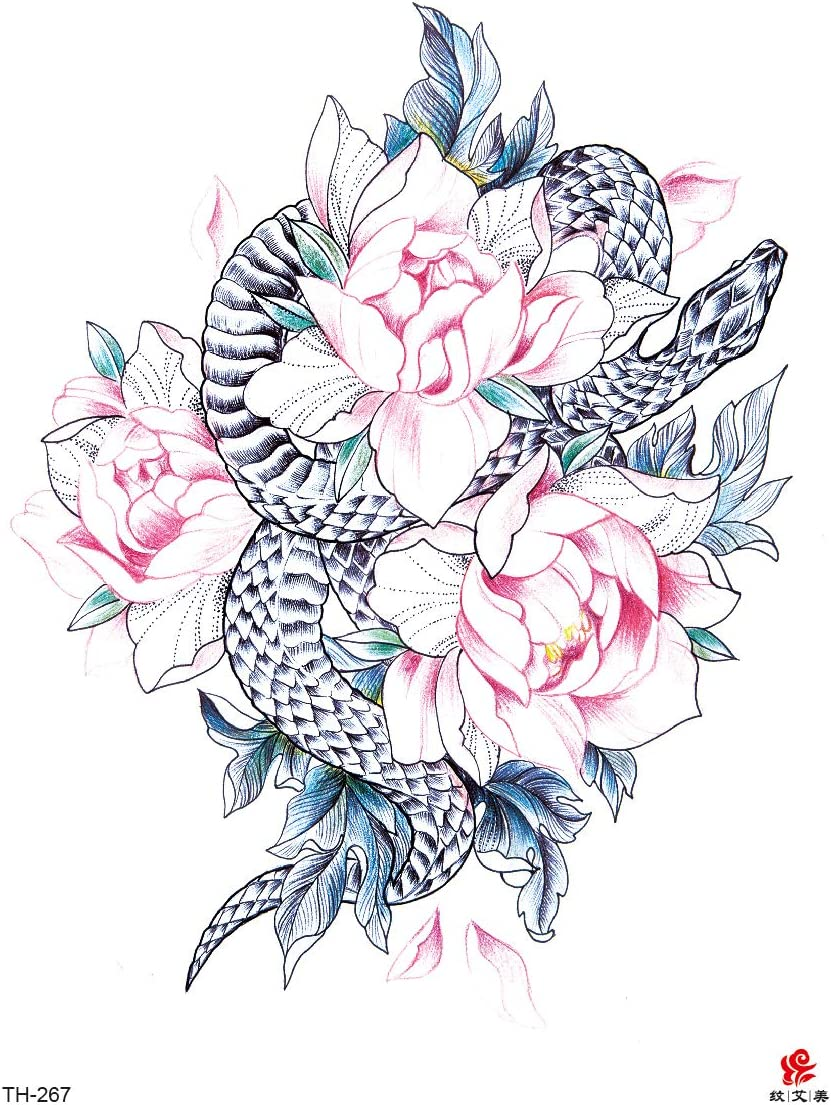 Amazon Com Lotus Flower Snake Large 8 25 Temporary Arm Tattoo Body Tattoos Temporary Body Tattoo Sticker Arts Crafts Sewing