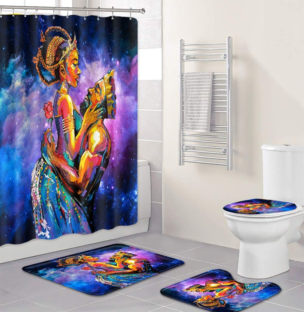 African American Women Shower Curtain Set for Bathroom Decor, Shower Curtain and Non-Slip Rug, Theme-Abstract Sunset Landscape, 4PCS/Set