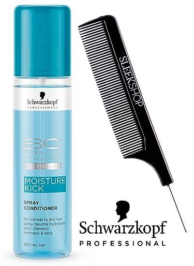 Schwarzkopf BC BONACURE Moisture Kick SPRAY CONDITIONER for NORMAL TO DRY  HAIR (with Sleek Steel PIn Tail Comb) Leave In Conditioner (Moisture Kick -  6.8 oz ... 5e1f3cda97777