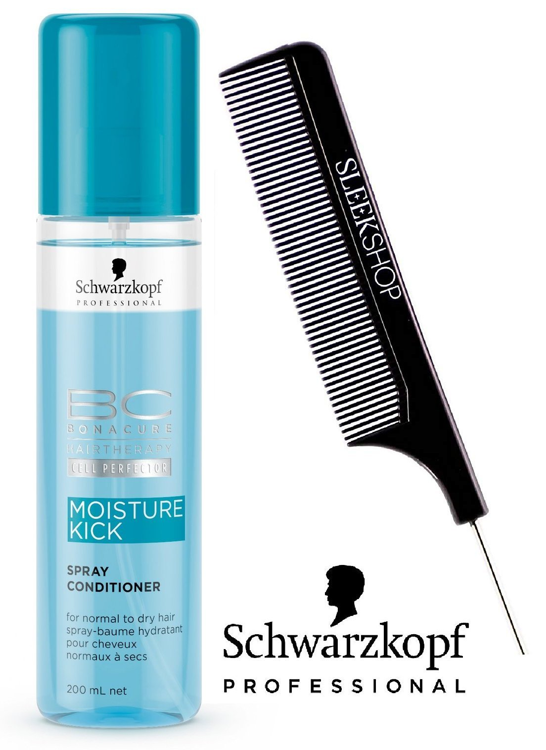Schwarzkopf BC BONACURE Moisture Kick SPRAY CONDITIONER for NORMAL TO DRY HAIR (with Sleek Steel PIn Tail Comb) Leave In Conditioner (Moisture Kick - 6.8 oz / 200 ml)
