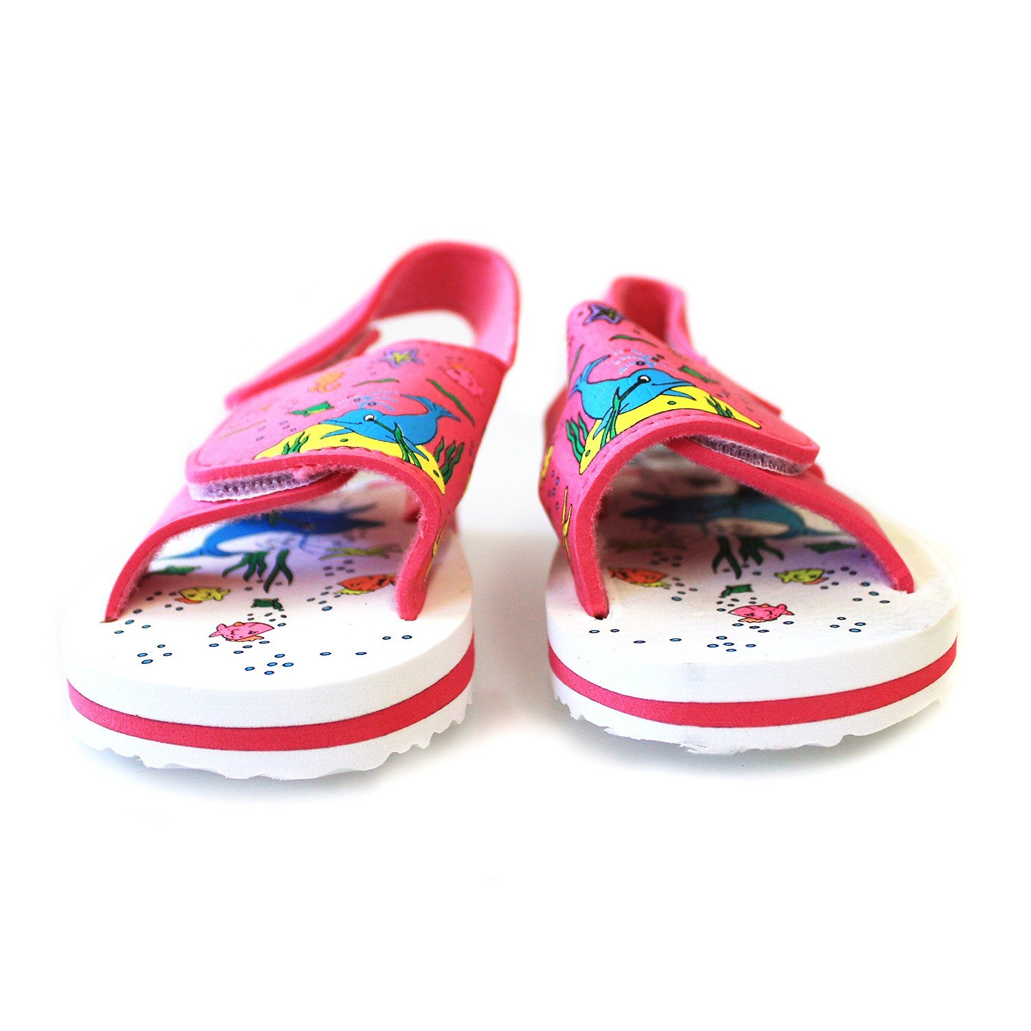 Hawaiian Print Ocean Dolphin Sea Horses Star Fish Girl Sandals with Fastners in Pink