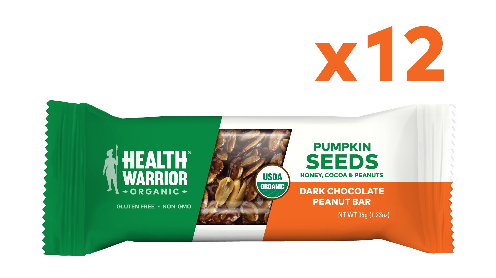 Health Warrior Pumpkin Seed Protein Bars, Dark Chocolate Peanut, 8g Plant Protein, Gluten Free, Certified Organic, 12 Count