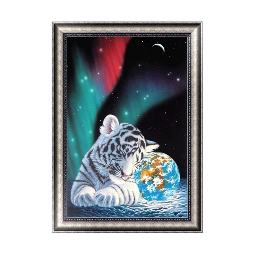 forestime 5d DIYダイヤモンド絵画クロスステッチクラフトキットダイヤモンド画像のクリスタル刺繍Cute Tiger 30×42 cm ブルー FORESTIME-64 B07DLNFTZP