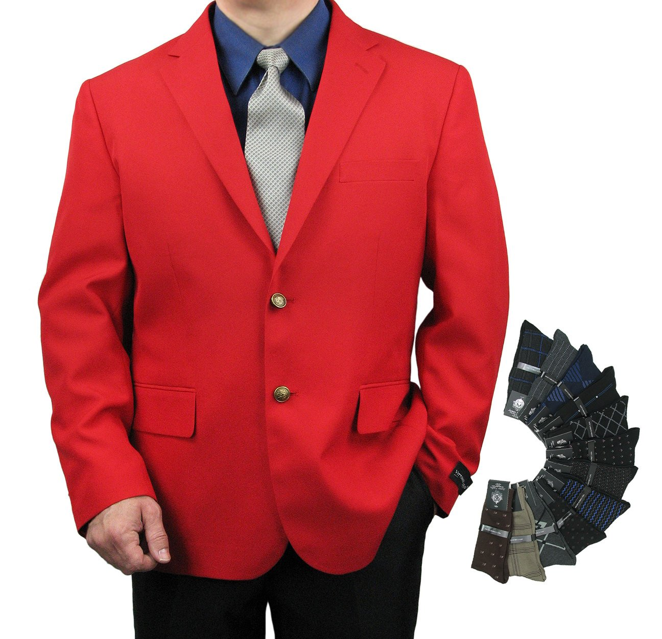 Men's Classic Fit Single-Breasted 2-Button Blazer Jacket Sports Coat w/One Pair Of Dress Socks (Variety Of Colors) - Red 42R