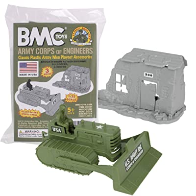 BMC Classic Army Corps of Engineers Bulldozer Building Plastic Army Men Playset: Toys & Games
