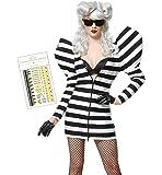 レディーガガ風 コスプレ3点セット(ワンピース 手袋 ボディタトゥーシール)Lady Gaga 衣装 コスチューム ハロウィン 仮装 M~Lサイズ