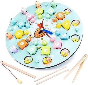 kdjsic 1 Juego de Reloj de Memoria ajedrez ajedrez magnético Juguetes de Pesca de Madera niños Aprendizaje temprano Rompecabezas Juguetes Regalos interactivos Entre Padres e Hijos
