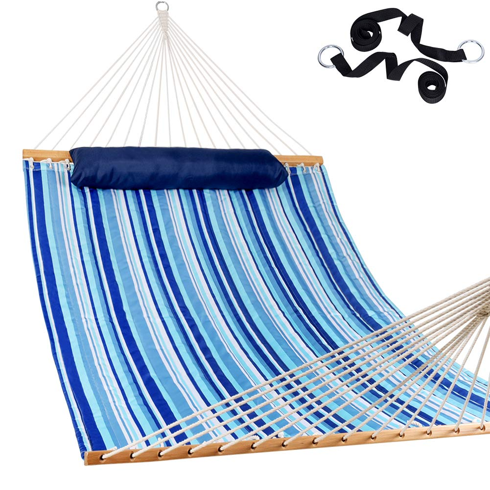 Lazy Daze Hammocks Hammock Quilted Fabric with Pillow for Two Person Double Size Spreader Bar Heavy Duty Stylish, Blue Stripe by Lazy Daze Hammocks