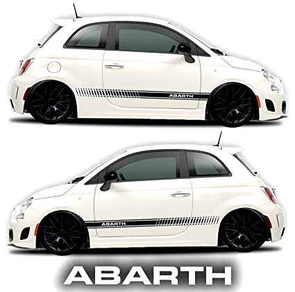Fiat 500 abarth side decals stickers rocker panel racing stripes 2 sides graphics abarth