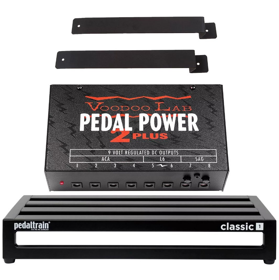 Pedaltrain Classic 1 Pedalboard w/Soft Case, Voodoo Lab Pedal Power 2 PLUS Power Supply and Mounting Kit