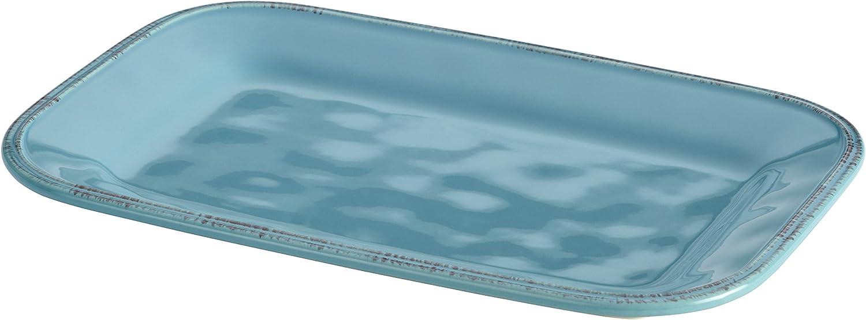 Rachael Ray Cucina Dinnerware 8-Inch x 12-Inch Stoneware Rectangular Platter, Agave Blue - 57231