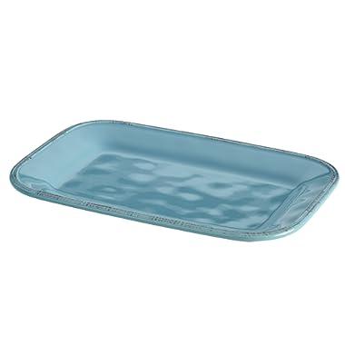 Rachael Ray Cucina Dinnerware 8-Inch x 12-Inch Stoneware Rectangular Platter, Agave Blue