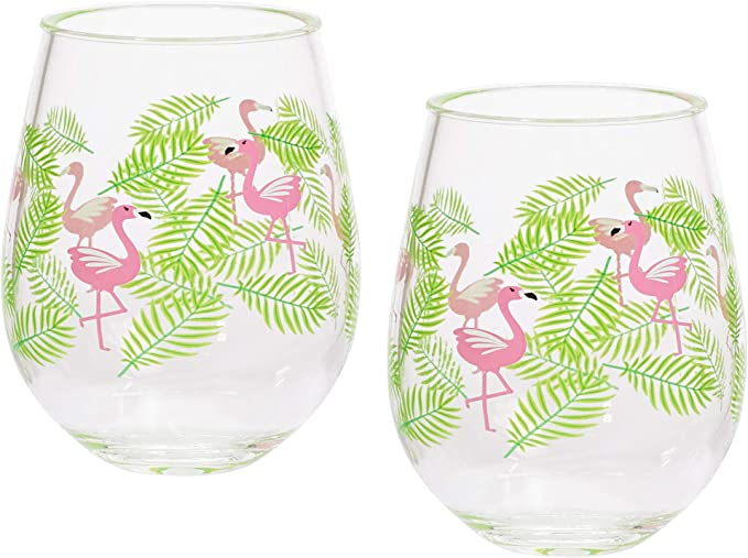 FLAMINGO WINE GLASS PICNIC PLASTIC Goblet Glasses Reusable BBQ Party GM2886OB UK