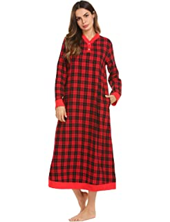 b91b8b94a4 Latuza Women s Plaid Flannel Nightgowns Full Length Sleep Shirts at ...